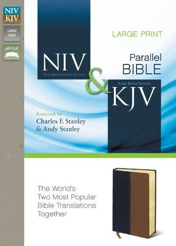 NIV, KJV, Parallel Bible, Large Print, Imitation Leather, Navy/Tan, Lay Flat: The World's Two Most Popular Bible Translations Together