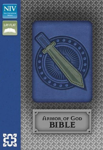 NIV, Armor of God Bible, Imitation Leather, Blue/Silver
