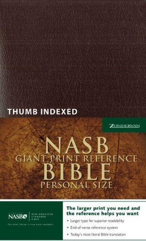 NASB Giant Print Reference Bible, Personal Size, Indexed (Burgundy Leather-Look)