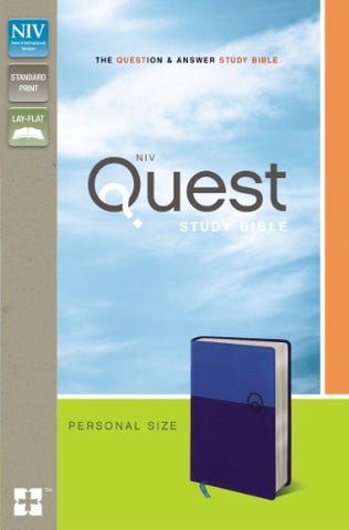 NIV, Quest Study Bible, Personal Size, Imitation Leather, Blue/Blue, Lay Flat: The Question and Answer Bible
