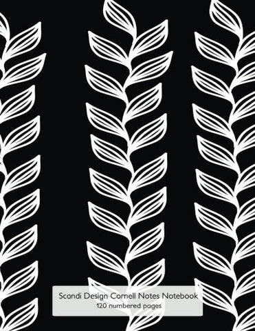 "Scandi Design Cornell Notes Notebook 120 numbered pages: Journal for Cornell Notes with black & white cover ""Seaweed"" - 8.5""x11"" ideal for studying, includes guide to effective studying and learning"