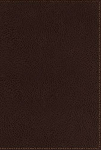 NKJV, End-of-Verse Reference Bible, Giant Print, Personal Size, Imitation Leather, Brown, Full Color, Indexed (Classic)