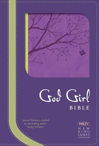 NKJV God Girl Bible, Pretty Purple/Neon Green, Tree Design Duravella