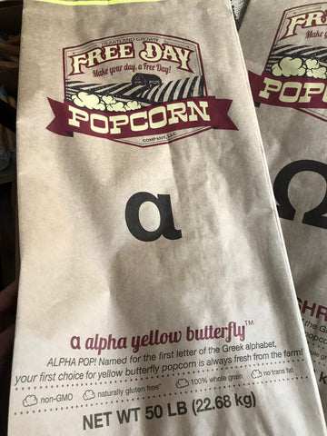 Alpha Yellow Butterfly™, 50 lb Bulk Bag: Farm Fresh Non-GMO Popcorn