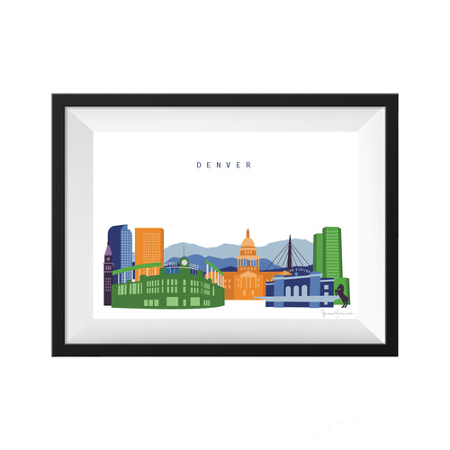 denver colorado print skyline