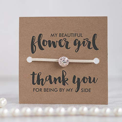 Thank you flower girl gift, Thank you for being my flower girl bracelet, Flower girl gifts, Ivory Bracelet with gift wrap - Swanky Collection