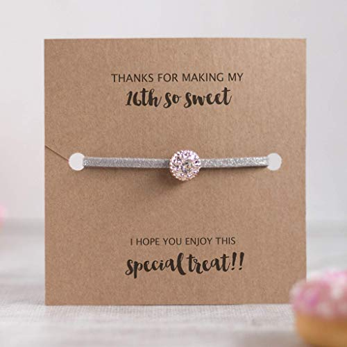 Set of 8 sweet 16 party favors, sweet 16 party supplies, 16th birthday party supplies, Silver friendship bracelets - Swanky Collection