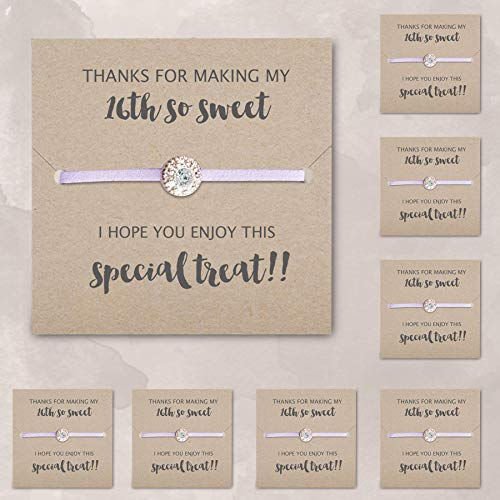 Set of 8 sweet 16 party favors, sweet 16 party supplies, 16th birthday party supplies, Lavender friendship bracelets - Swanky Collection