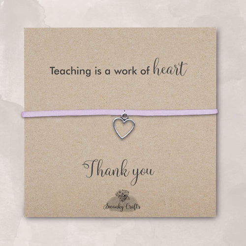 teacher christmas gifts for teachers, best teacher gifts for women, christmas presents for teachers, christmas gift for teachers gifts for teachers women, handmade lavender heart bracelet and envelope - Swanky Collection