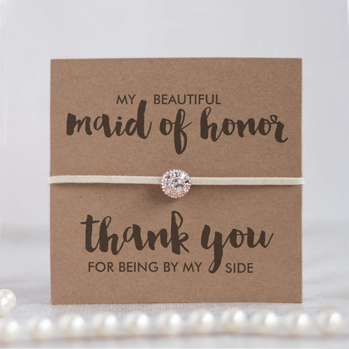 Maid of honor thank you gifts, Thank you bridal shower gifts, Thank you maid of honor gift, ivory friendship bracelets - Swanky Collection