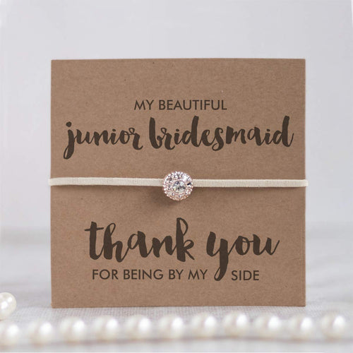 Junior bridesmaid thank you gifts, Junior bridesmaid gifts from bride, Junior bridesmaid card, Ivory friendship bracelets - Swanky Collection