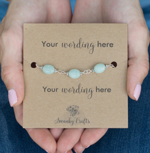 Handmade Amazonite Bracelet - Personalised Gift with Custom Wording - Swanky Collection