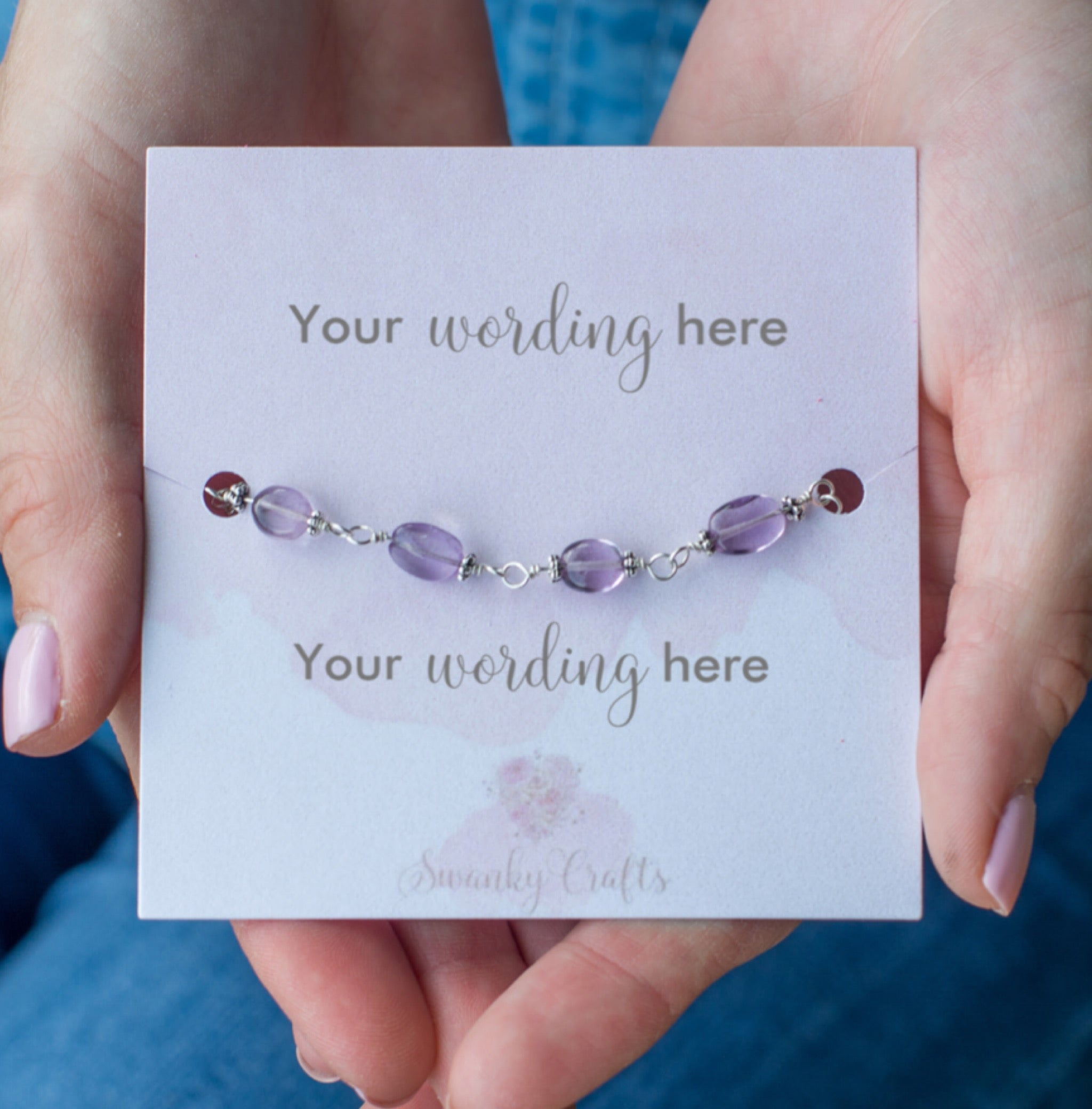 Handmade Amethyst Bracelet - Personalized Gift with Custom Wording - Swanky Collection