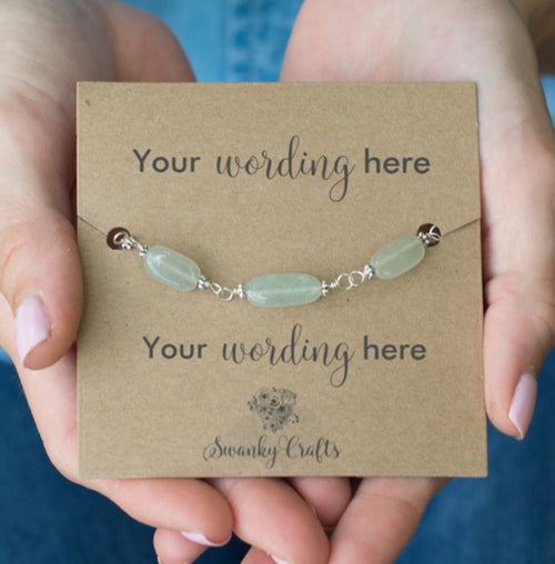Handmade Aventurine Bracelet - Personalized Gift with Custom Wording - Swanky Collection