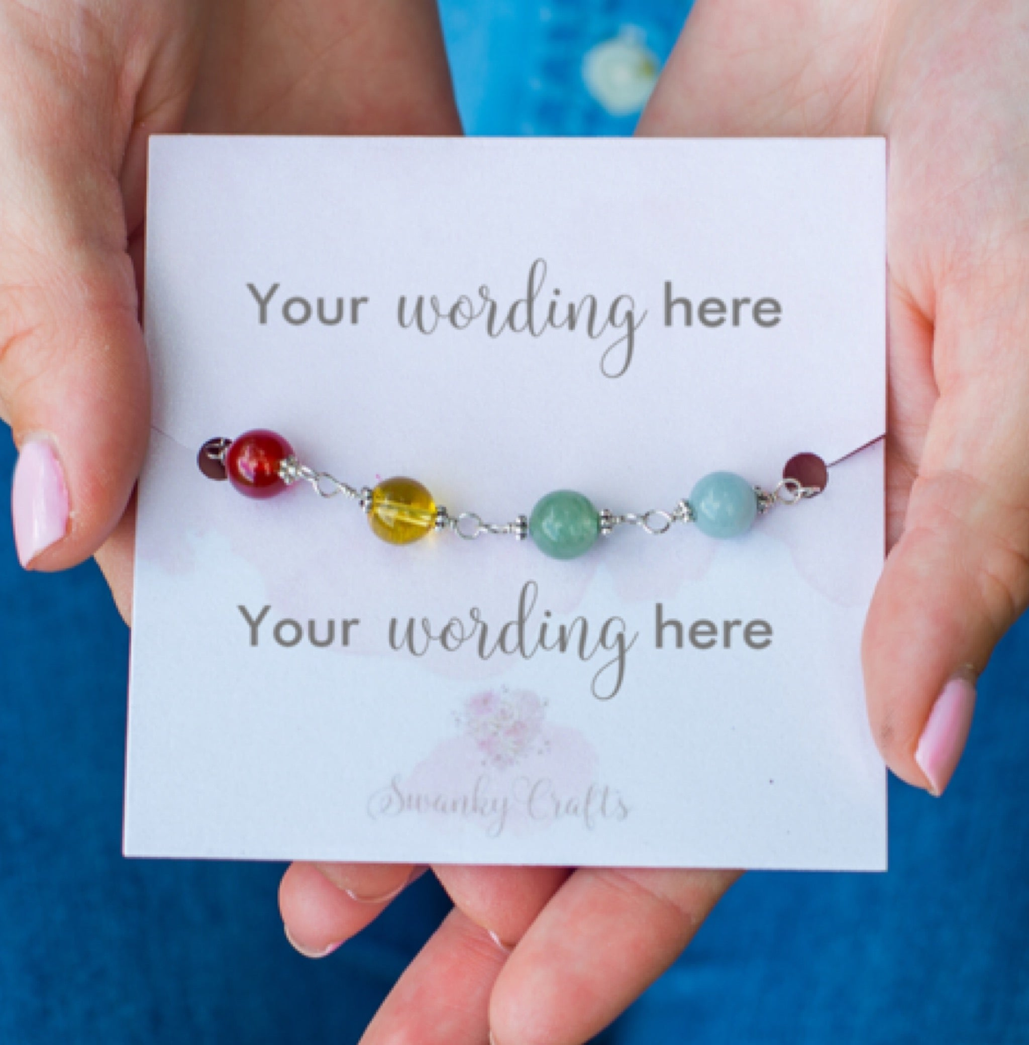 Handmade Sterling Silver Chakra Bracelet - Personalized Gift with Custom Wording - Swanky Collection