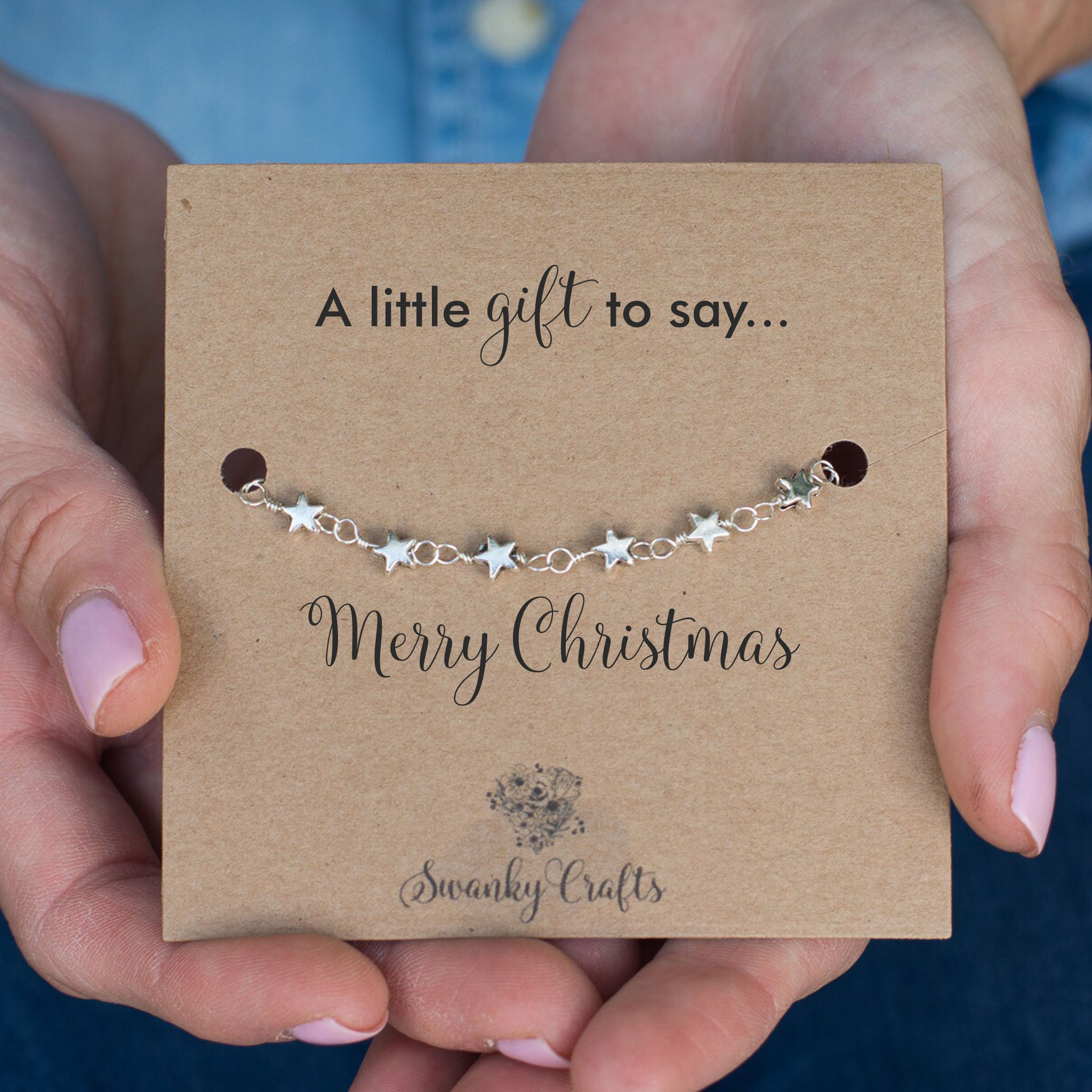 Christmas Gifts for Her - Handmade Silver Star Charm Bracelet - Swanky Collection