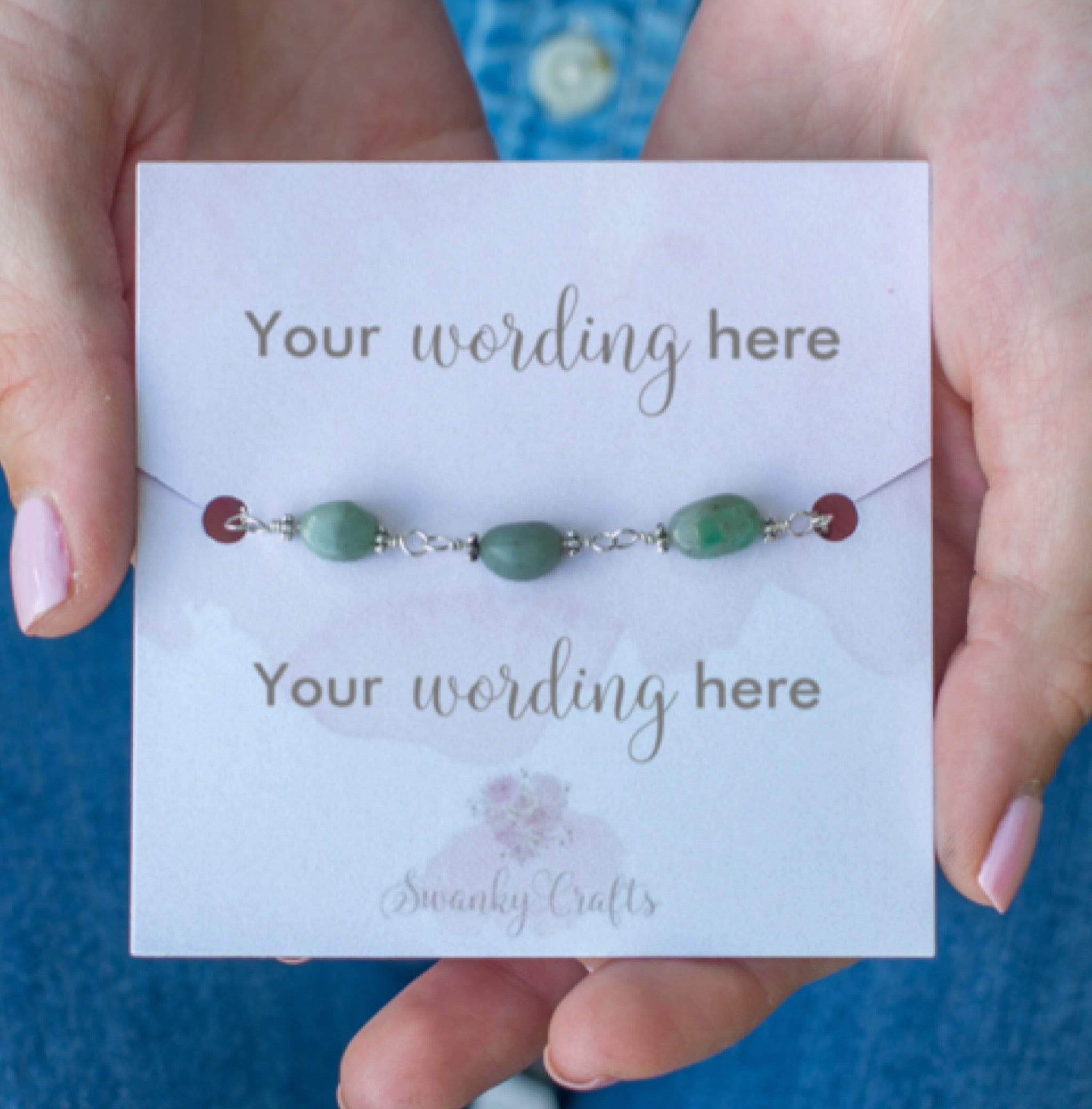 Handmade Emerald Bracelet - Personalized Gift with Custom Wording - Swanky Collection