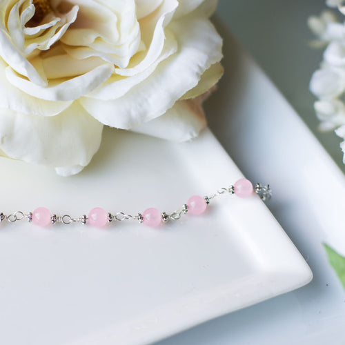 Handmade Rose Quartz Bracelet - Personalized Gift with Custom Wording - Swanky Collection