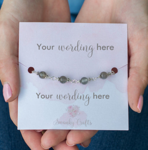 Handmade Grey Moonstone Bracelet - Personalized Gift with Custom Wording - Swanky Collection