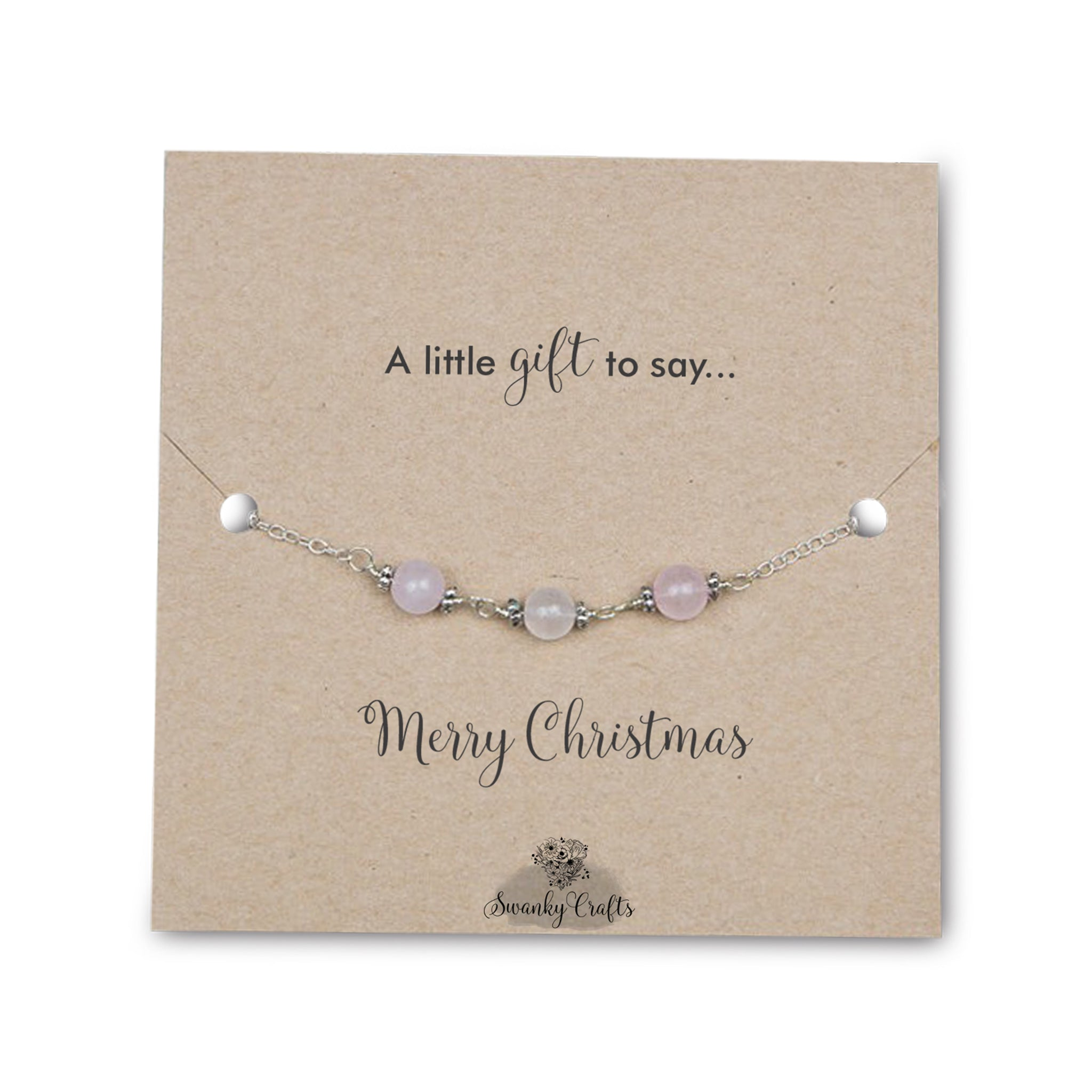 Christmas Gifts for Her - Handmade Rose Quartz Bracelet - Swanky Collection