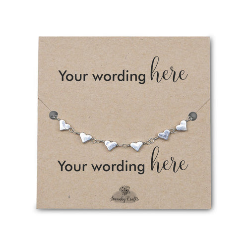 Handmade Silver Heart Bracelet - Personalized Gift with Custom Wording - Swanky Collection