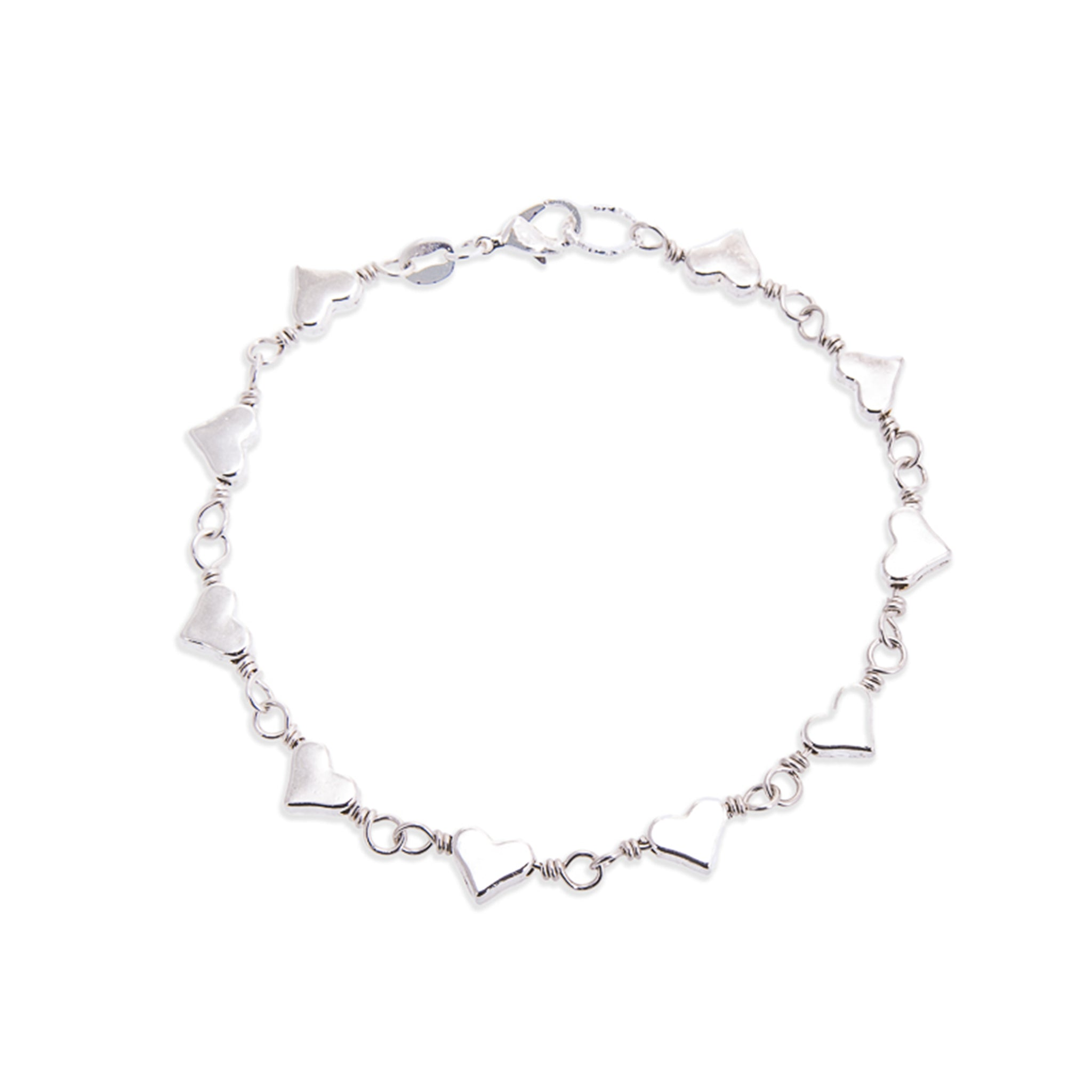 Handmade Silver Heart Bracelet - Personalised Gift with Wording of your choice - Swanky Collection