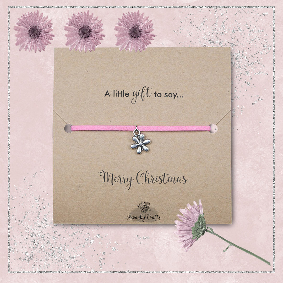 Christmas Gifts for Her - Handmade Suede Flower Friendship Bracelets - Swanky Collection