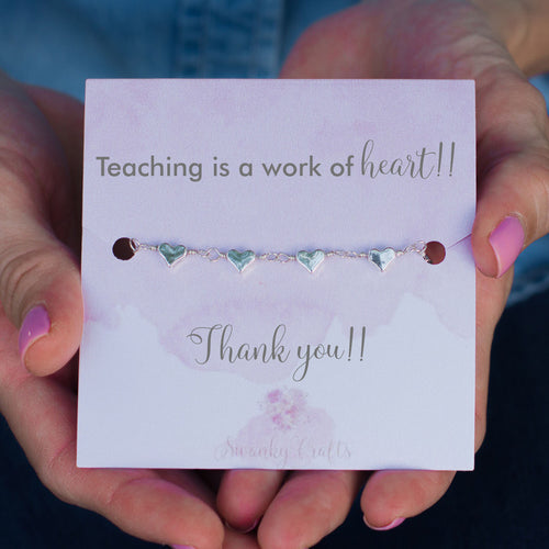 Thank you teacher Gifts - Silver Heart Bracelet - Teacher Appreciation Gift - Swanky Collection