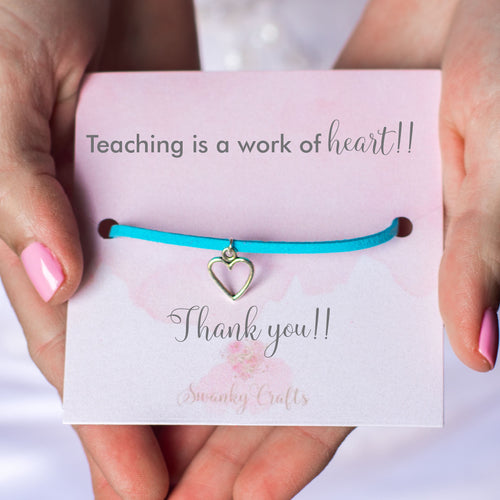 Thank you Teacher Gift - Handmade Faux Suede Heart Bracelet - Swanky Collection