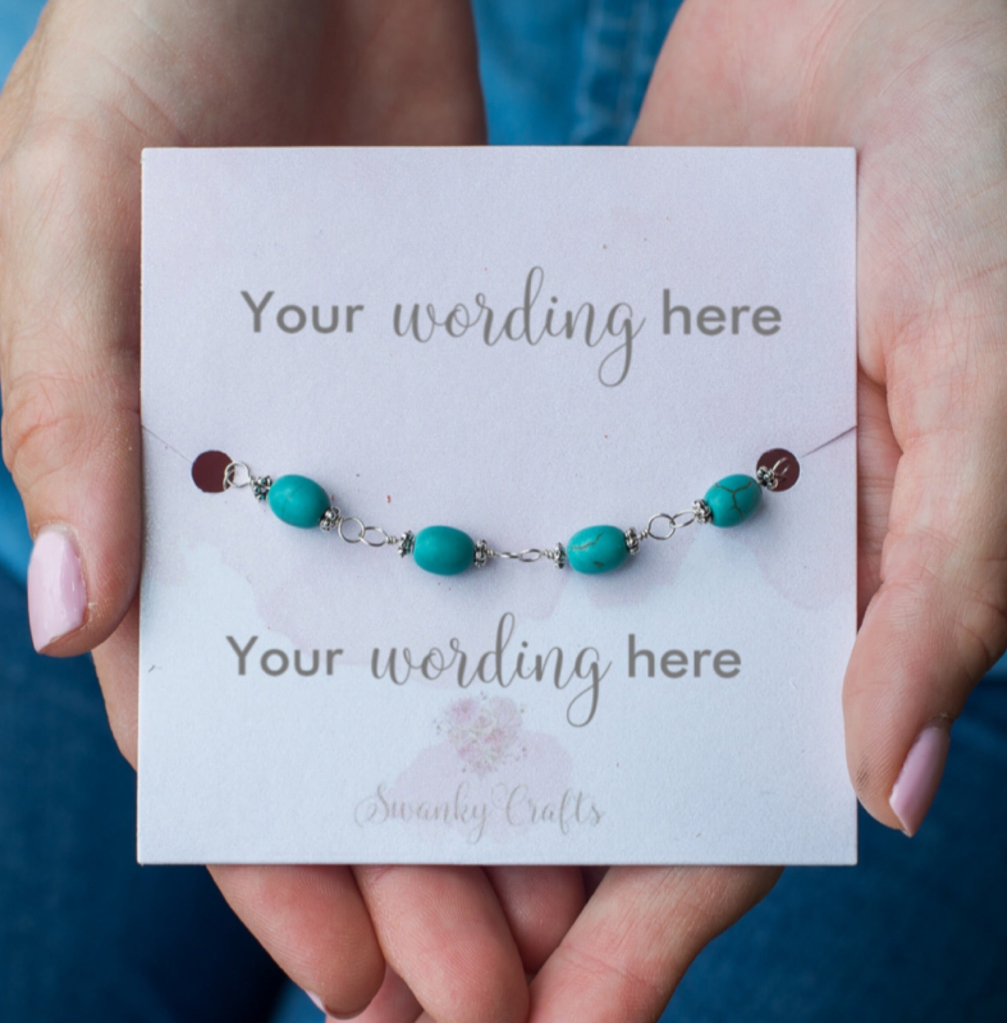 Handmade Turquoise Bracelet - Personalized Gift with Custom Wording - Swanky Collection