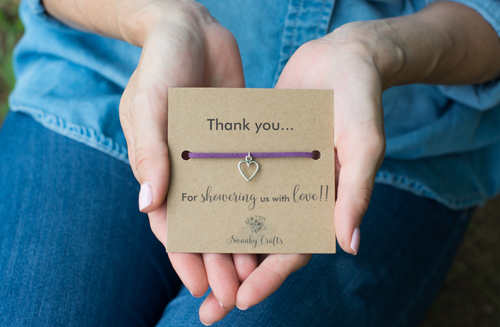 Baby Shower Thank You Gifts - Faux Suede Heart Bracelet - Swanky Collection