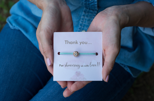 Baby Shower Thank You Gifts - Handmade Rhinestone Friendship Bracelet - Swanky Collection