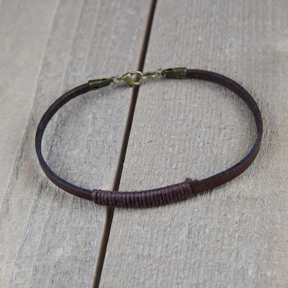 Christmas Gift for Him - Antique Brown Leather Bracelet - Swanky Collection