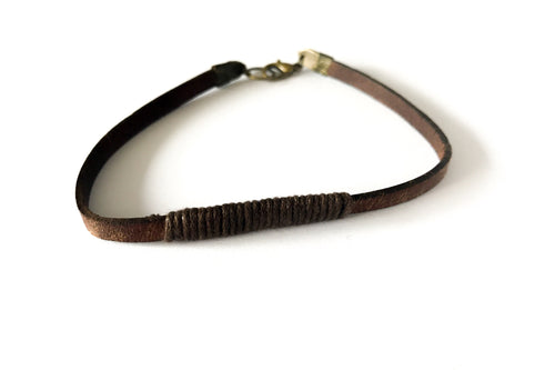 Thank you Dad for walking me down the aisle gift Antique Brown Leather Bracelet - Swanky Collection