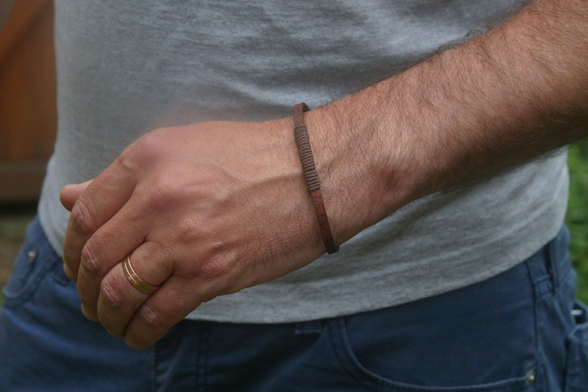 Birthday Gift for Dad - Antique Brown Leather Bracelet - Swanky Collection