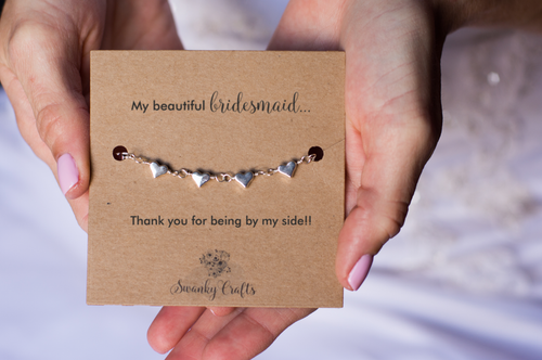 Bridesmaid Thank You Gift - Handmade Silver Heart Bracelet - Swanky Collection