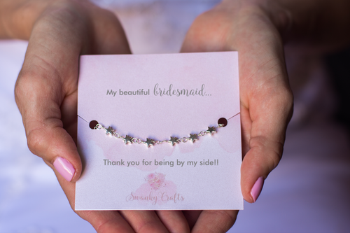 Bridesmaid Thank You Gift - Handmade Silver Star Bracelet - Swanky Collection