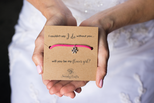 Flower Girl Proposal Gift - Handmade Flower Friendship bracelet - Swanky Collection