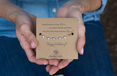 Friends Birthday Gifts - Sterling Silver Star Bracelet - Swanky Collection