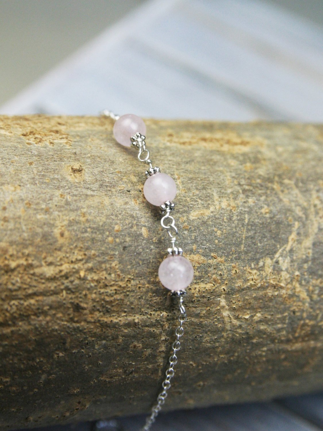 Mother of the Bride Gift - Handmade Sterling Silver and Rose Quartz Bracelet - Swanky Collection