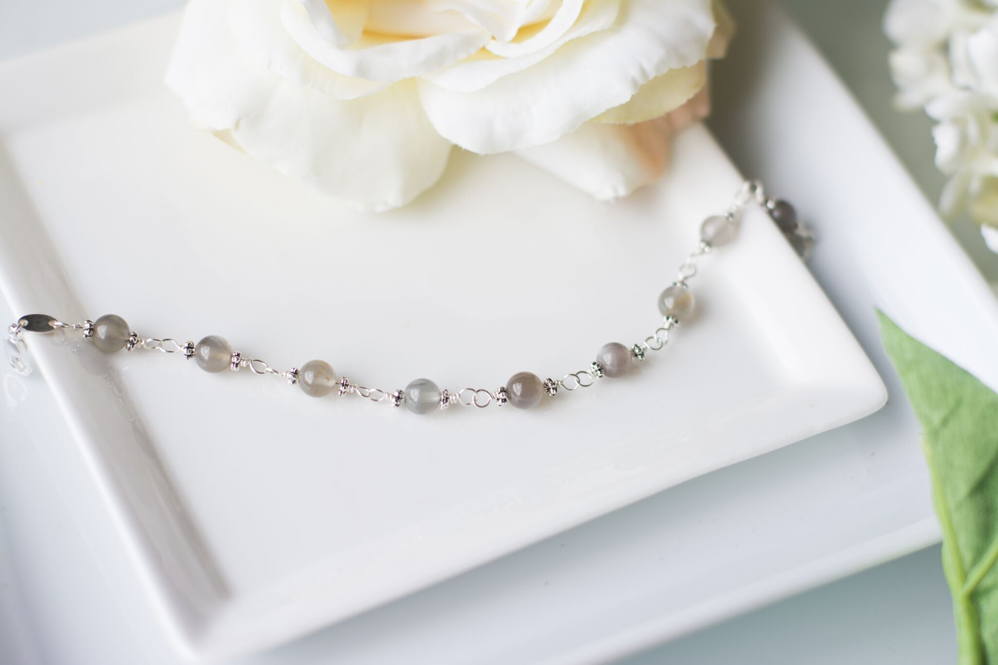 Mother of the Groom Gift - Handmade Sterling Silver and Grey Moonstone Bracelet - Swanky Collection