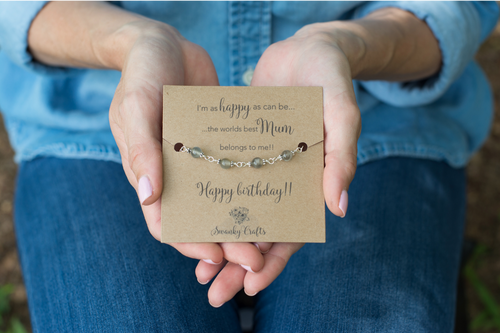 Mum Birthday Gift - Handmade Sterling Silver Grey Moonstone Bracelet - Swanky Collection