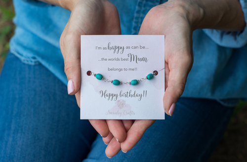 Mum Birthday Gift - Handmade Sterling Silver Turquoise Bracelet - Swanky Collection
