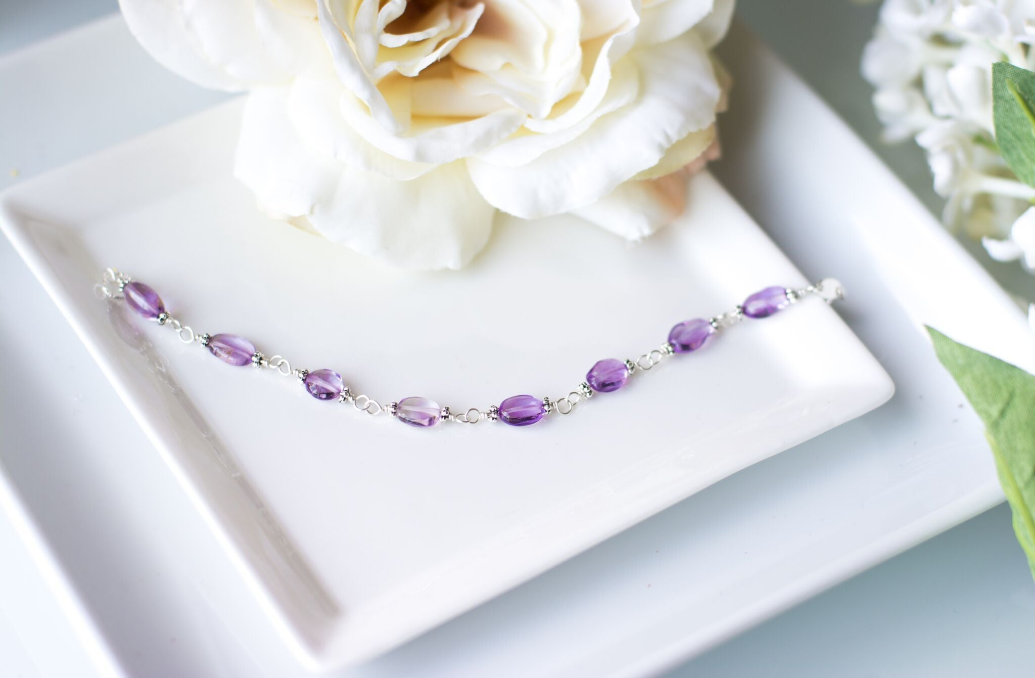 Mum Birthday Gifts - Sterling Silver Amethyst Bracelet - Swanky Collection