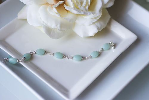 Sister Birthday Gift - Sterling Silver Amazonite Bracelet - Swanky Collection