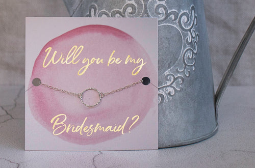 Bridesmaid Proposal Gift - Handmade Sterling silver eternity bracelet with gold foil - Swanky Collection