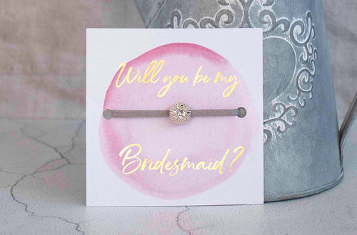 Bridesmaid Proposal Gift - Handmade Sparkling Rhinestone Friendship bracelet with gold foil - Swanky Collection
