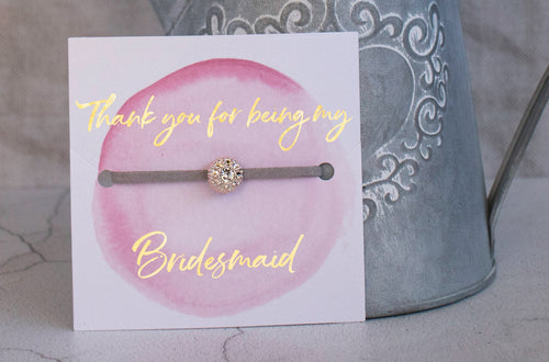Bridesmaid Thank you Gift - Handmade Sparkling Rhinestone Friendship bracelet with gold foil - Swanky Collection