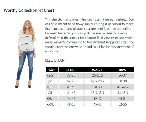 Worthy sizing and fit guide