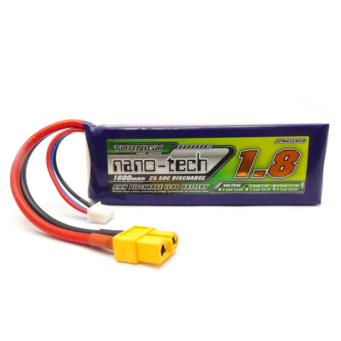 Turnigy Nano-Tech 1800mAh 2S LiPo Battery Pack 7.4V 25C 50C XT Connector Plug